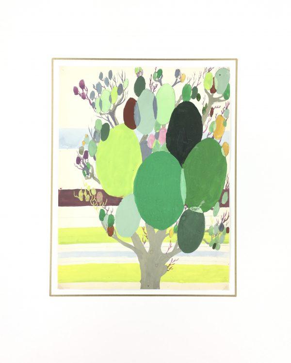 Trees Original Art - Gouache - Modern Abstract, C.1950