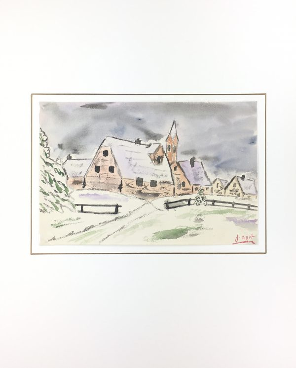 Winter Original Art - French Town, J. Oget, C.1960