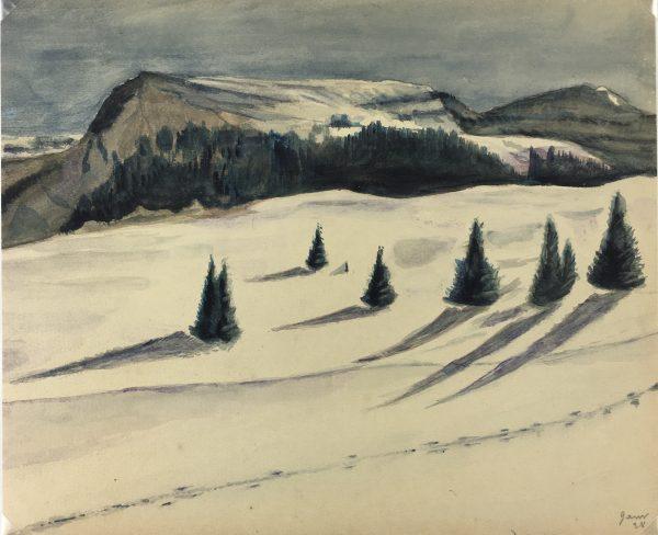 Winter Original Art - Watercolor - January Snow, 1928