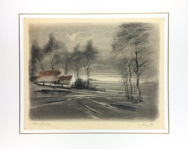Winter Original Art - Winter Landscape, Signed , C.1940